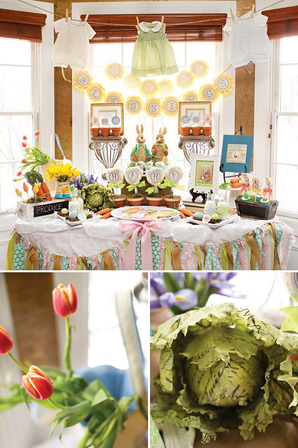 A Peter Rabbit Baby Shower with tulips & daffodils, terracotta pot cupcakes + vegetable painted cookies, twine & straw carrot bunches+ rabbit feet Oreos