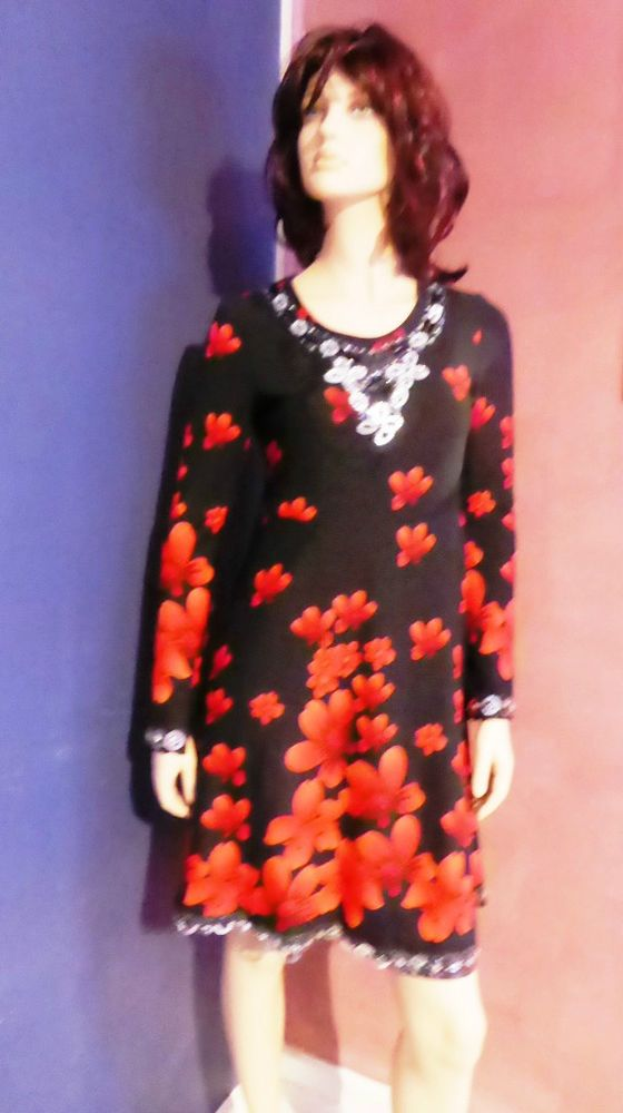 Black Long Sleeve Dress with Red Flowers and Bling Size 14