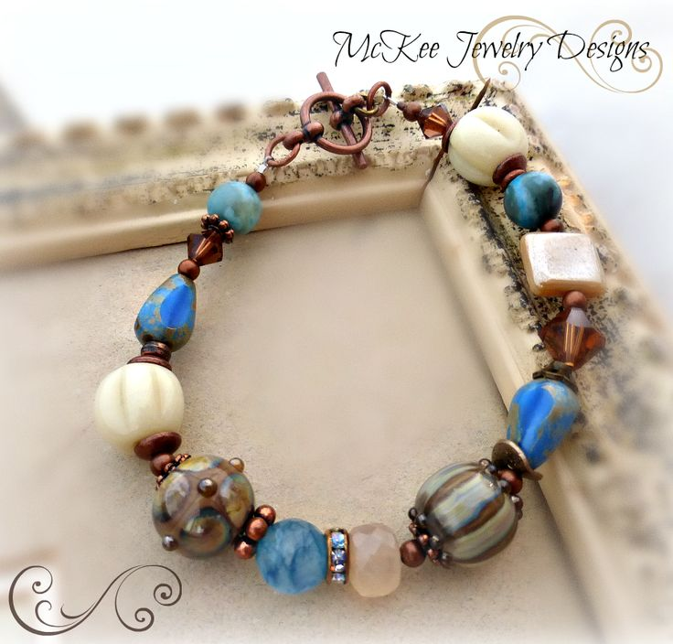 Sandy beaches. Lampwork, stone, Czech glass and copper metal bracelet.