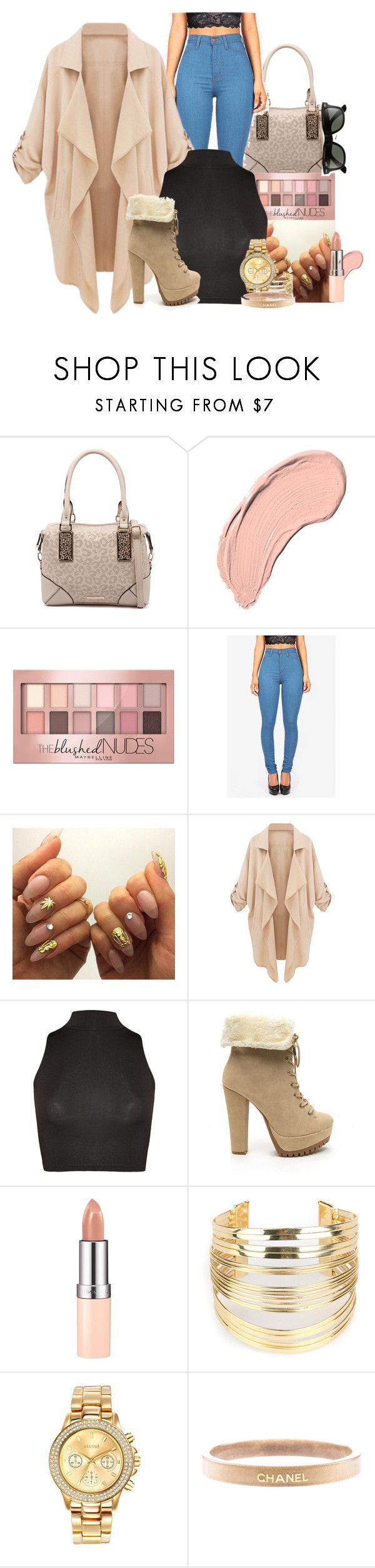 """trend setter"" by bitchgotswagg ❤ liked on Polyvore featuring Kardashian Kollection, NYX, Maybelline, WearAll, Rimmel, WithChic, Mestige, Chanel and Ray-Ban"