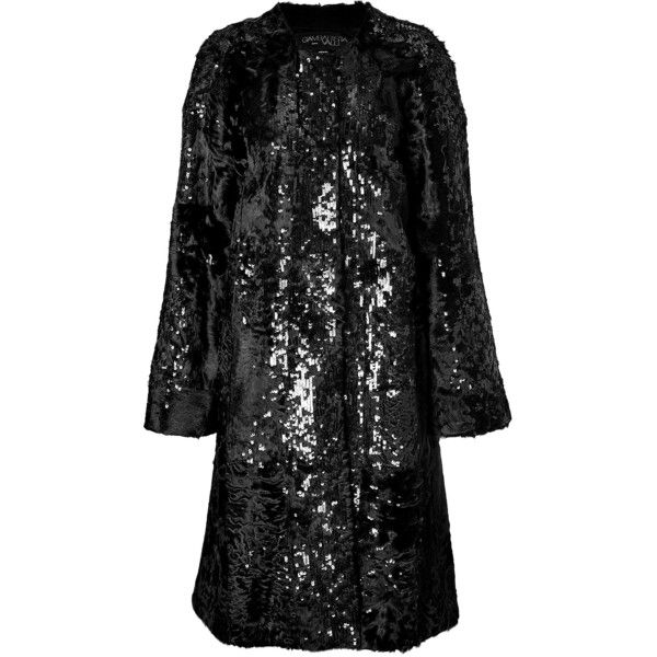 Giambattista Valli Sequin Embellished Lamb Fur Coat ($2,825) ❤ liked on Polyvore featuring outerwear, coats, fur, black, giambattista valli coat, fur coat, collarless coats, sequin coat and giambattista valli