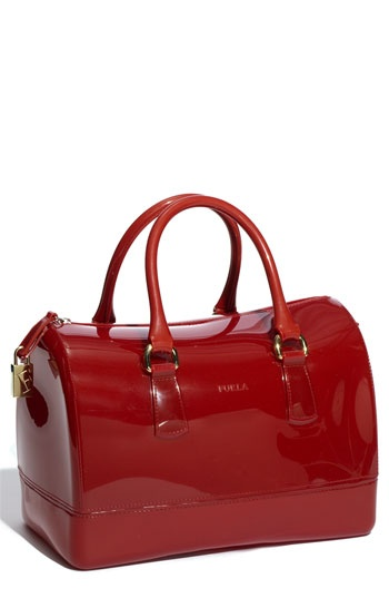 "Furla 'Candy' Rubber Satchel - ""Geranio Red,"" just beautiful."