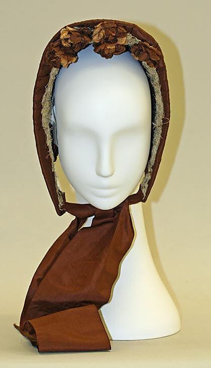 Bonnet 1863, American, Made of silkAmerican Silk, Art Permanent, Bonnets Hats, 1860S, Pretty Flowers, Bonnets 1863, 1800S, Metropolitan Museums, Silk Bonnets
