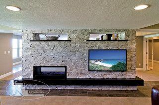 Fireplace With Space On Side For Tv Modern Basement Basement Design Modern Living Room