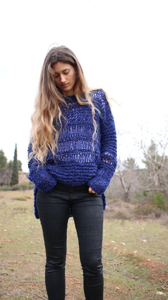 Suéter de Grunge suelto ajuste suéter de tejido abierto azul