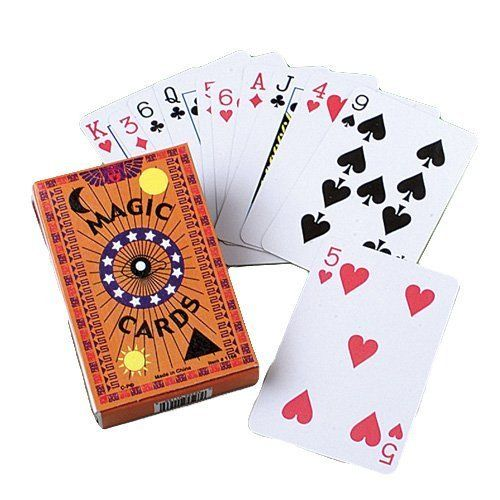 """Magic Playing Cards by US Toy Company. $16.80. Fun for kids or adults. Ideal for magic theme birthday party favors or gifts. Size 2 ¼"""" W x 3½"""" T. Magic card trick instructions included in the box. Includes a dozen boxes of magic playing cards. These magic playing cards appear to be real but only you know the trick.  Instructions on how to use the playing cards are on the box.  Size 2 1/4 W x 3-1/2"""" T."""""""