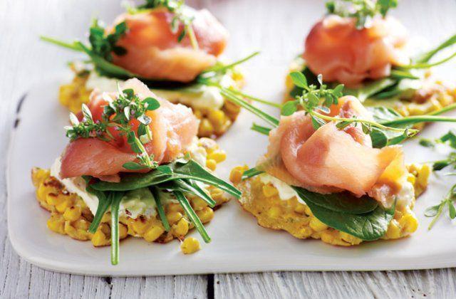 Corn fritters with lemon thyme & smoked salmon recipe (gluten free). A healthy breakfast idea!