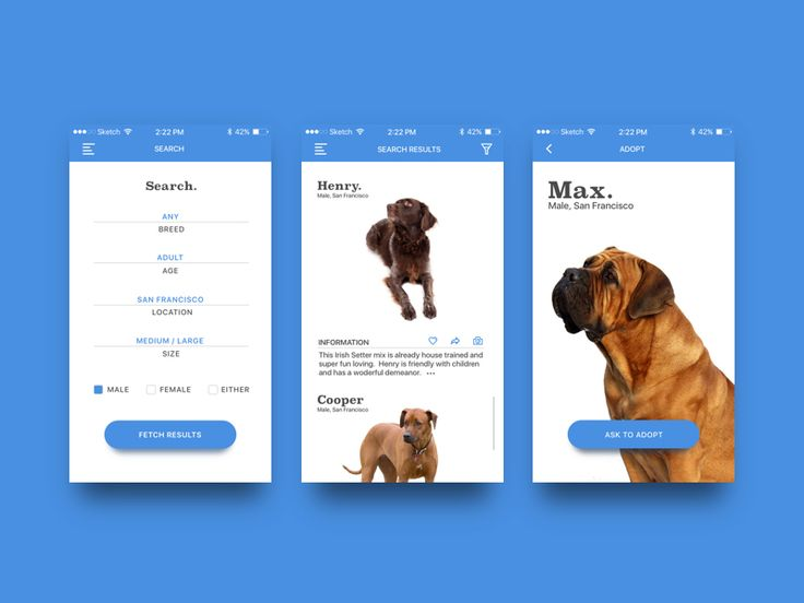 Dog Adoption App Concept by Gabe Becker