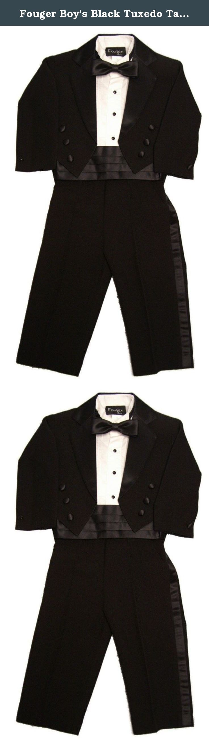 Fouger Boy's Black Tuxedo Tails Formal Set 6 months. Budget boy's formal outfit is nice for the price! This 5-piece poly/rayon tuxedo looks just like a men's traditional tux. The set includes elastic waist tuxedo stripe pants, constructed tuxedo tails jacket which is fully lined, plus a white lightweight tuxedo shirt (runs really slim), cummerbund and a bow tie. The outfit is a nice quality, but has a bit of sheen to the fabric. The tuxedo set runs really slim, and basically small overall…