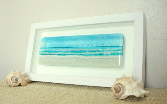Long Beach in a Box  Panoramic Seaside Glass Framed door GlassRelief, £50.00
