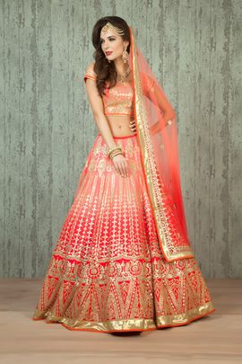 Bridal Lehengas - Peach and Red Shaded Lehenga | WedMeGood Benzer Bridal Wear, for their 2016 Collection, designed this gorgeous Peach Shaded Lehenga. The Peach Raw Silk Lehenga has ombre peach red combination with gota patti work all over and a gota border. The Peach Net Dupatta also has elements of gota along with stone and zardosi work. Find more designs by Benzer Bridal Wear on wedmegood.com #wedmegood #benzer #bridal #lehenga #peach #red #ombre #gotapatti #zardosi #stonework