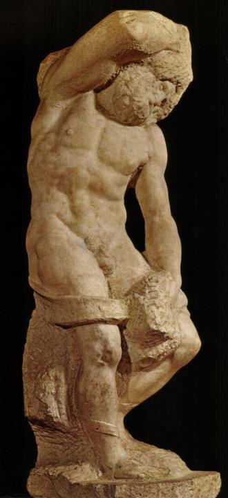 """Lo Schiavo barbuto è una scultura marmorea (h 263 cm) di Michelangelo, databile al 1525-1530 circa e conservata nella Galleria dell'Accademia a Firenze. Fa parte della serie dei Prigioni """"non-finiti"""" per la tomba di Giulio II."""