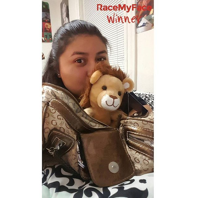"""Selfie wth your bag"" is one of our new contests - the winner made sure to max out the cute factor with a plush toy in her selfie! Congrats! :) Get the app now!  Appstore: www.asmileppstore.com/RaceMyFace  Play Store: goo.gl/R1mwSM  #RaceMyFace #RaceMyFaceWinner #selfiecontest #winwithyourselfie #selfie #selfies #prizes #selfietime #selfienation #winner #bag #plush #bear #nice"