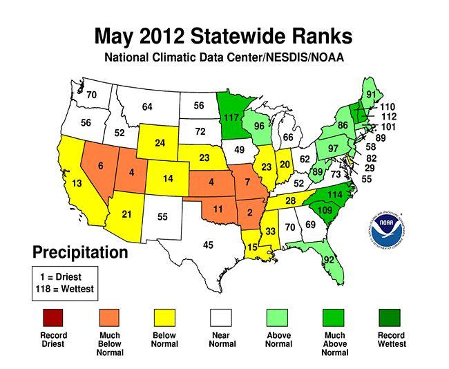 Rain Fall Us Maps Statewide Temperature Top And Precipitation Bottom Ranks Precipitation