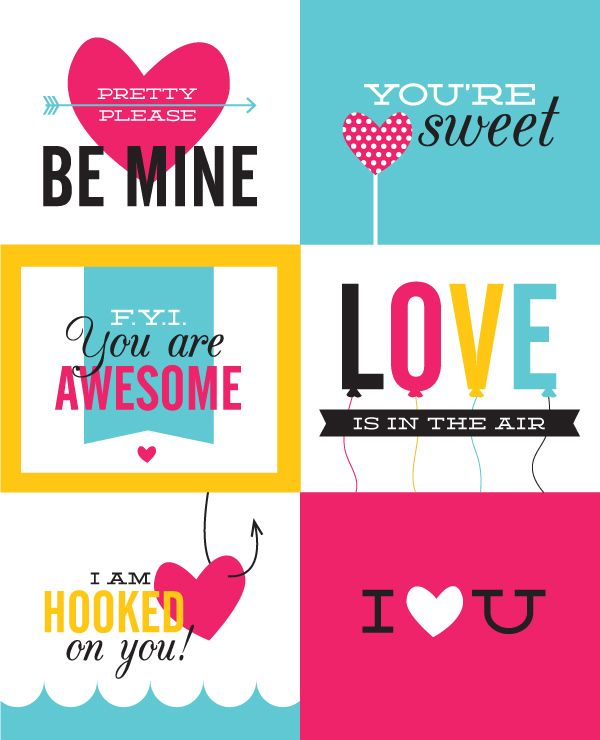 Free printable Valentine cards #printables #valentine (would also be good filler cards for Project Life)