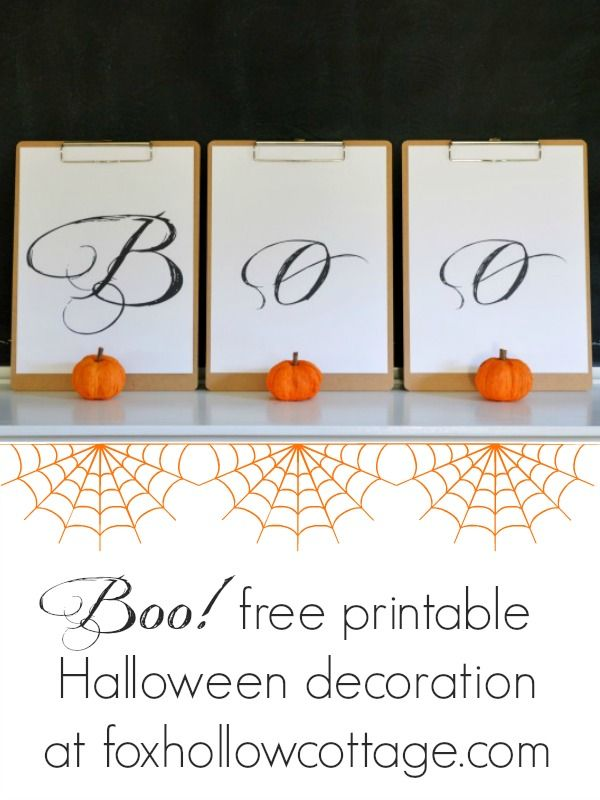 BOO free printable Halloween decoration at www.foxhollowcottage.com #Halloween #printable