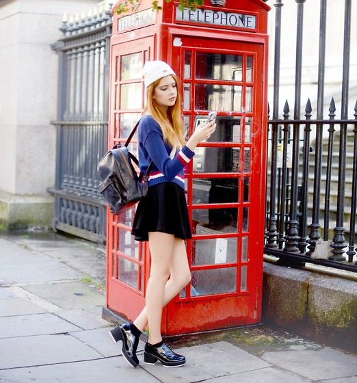 Beara Beara Backpack, Shellys London Shoes, Primark Skirt, Brixtol Hat, Borrowed From Elle May Leckenby :) Sweater