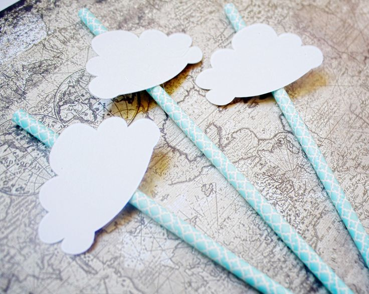 Party straws - Cloud Party Decor - Clouds - Paper Straws - Hot Air Balloon Decorations - Rainy Day - Up Up and Away Decor - Baby Shower by PoshSoiree on Etsy https://www.etsy.com/listing/251973317/party-straws-cloud-party-decor-clouds