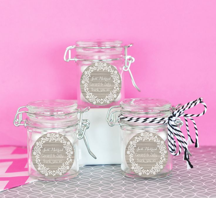 Lace Wreath Wedding Favour Jars (set of 12) - Customised Bomboniere