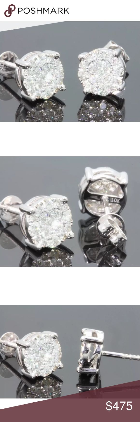 Gorgeous 1 carat 10k white gold diamond earrings Gorgeous 1 carat 10k white gold diamond earrings Jewelry Earrings