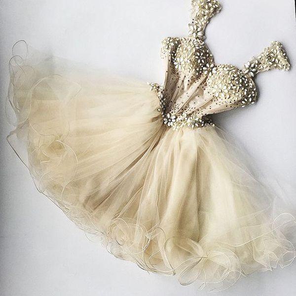 Detachable Straps Corset Homecoming Dresses Short Beaded Champagne Junior High Graduation Dresses CS007