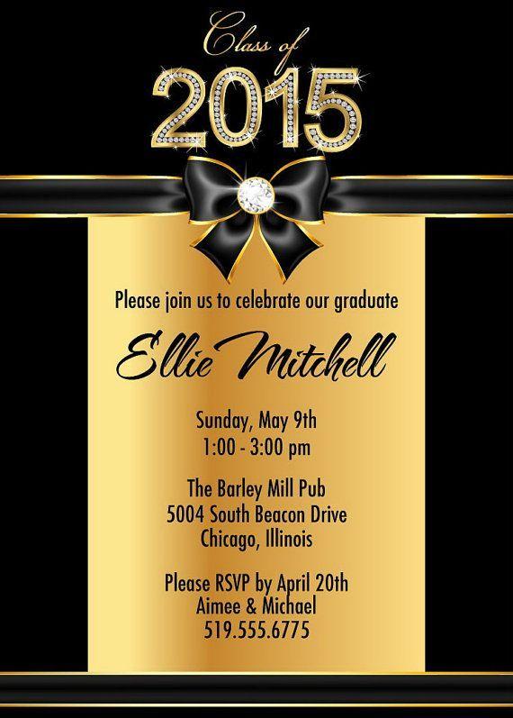 gold high school graduation party invitations college graduation