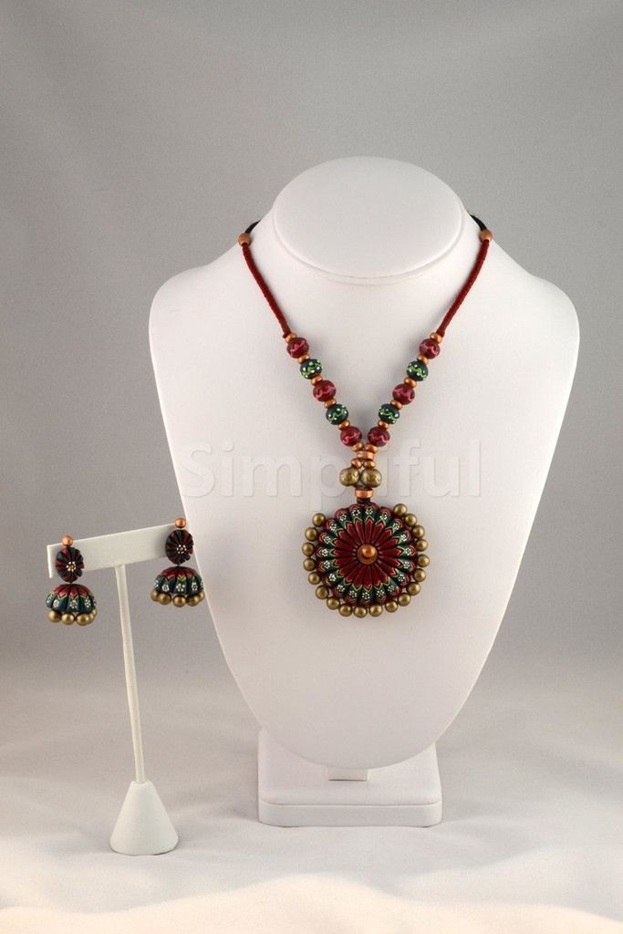 Terracotta Bold Bubble Round Necklace and Earring set
