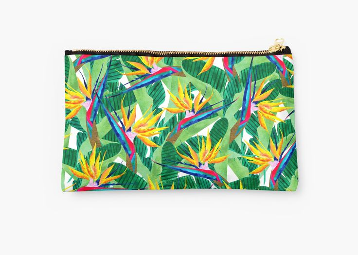 Watercolor collage Bird of Paradise pattern. Summer pattern. • Also buy this artwork on bags, apparel, stickers, and more.  Bird of Paradise watercolor pattern. Inspired by nature. @redbubble #art #redbubble #redbubbleartist #birdofparadise #pattern #design #tropical #yellow #flowers #botanical #summer #watercolor #artwork #fashion #trends #pouch #bag #studiopouch