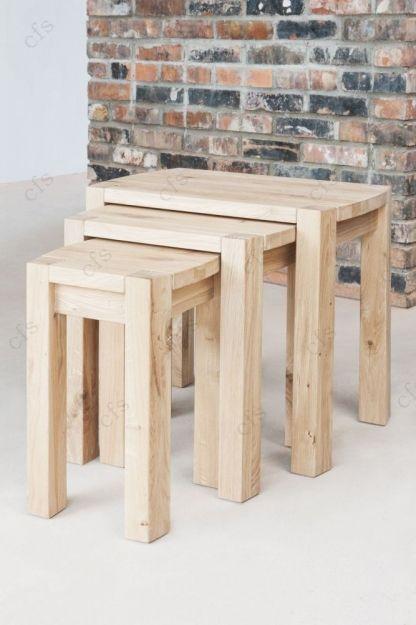 Qualita Goliath Oak Nest Of Tables Dimensions : W 60cm X D 40cm X H 55cm Part 28