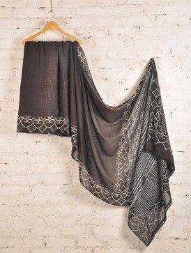 Brown Batik Cotton  Saree