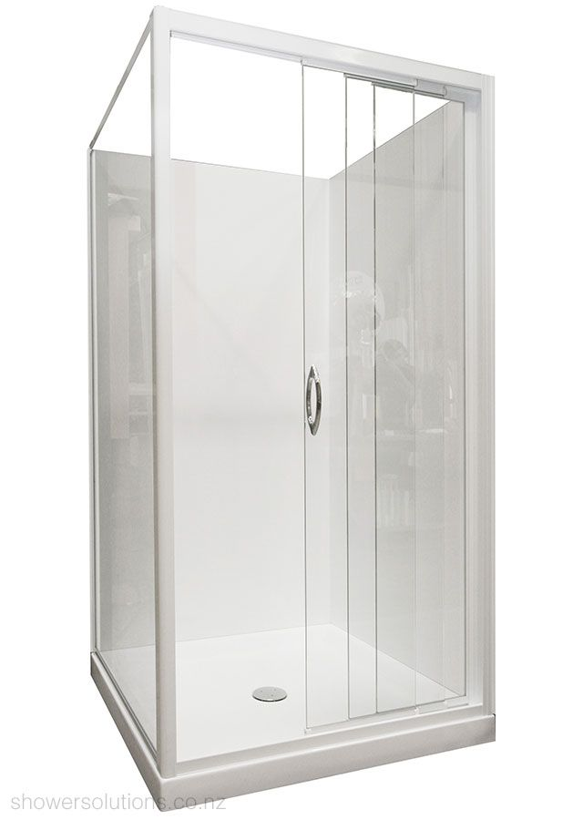 Framed Glass Sliding Shower Door 3 Panel Sliding Corner Square ...