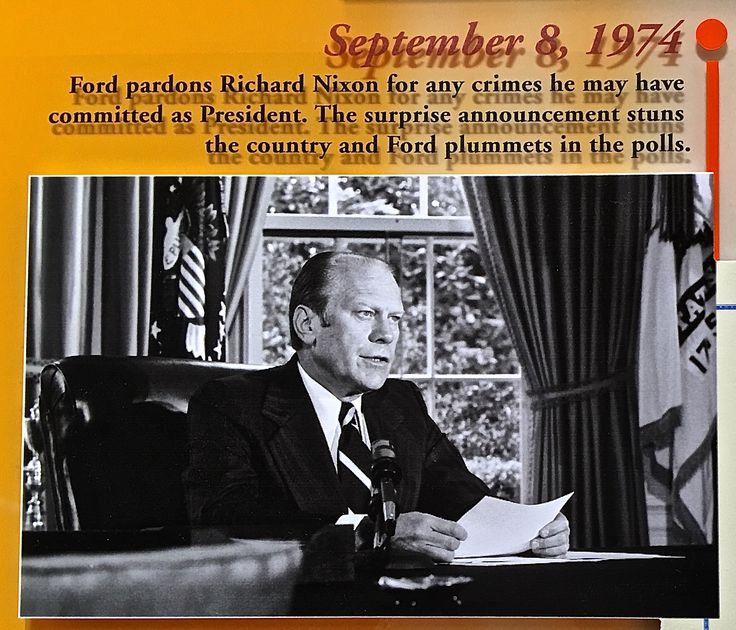 On September 8, 1974, President Ford pardoned former President Nixon. This photo (which captured the moment) is displayed at The Gerald R. Ford Presidential Library in Ann Arbor, Michigan.