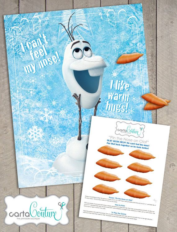 Instant Download DIY Disney's Frozen Pin the Nose on Olaf  Birthday Party Game Printable Poster File - by Carta Couture