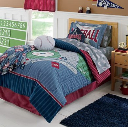 Sports boys baseball field themed twin comforter set 6pc for Boys full size bed