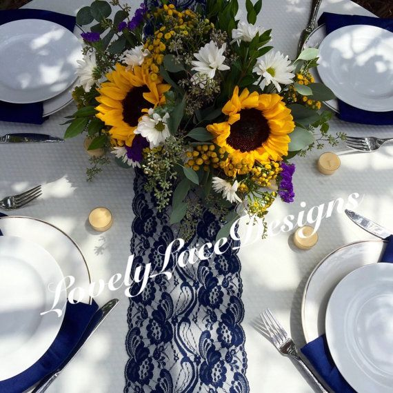 WEDDING DECOR/Navy Lace Table Runner 21ft to by LovelyLaceDesigns