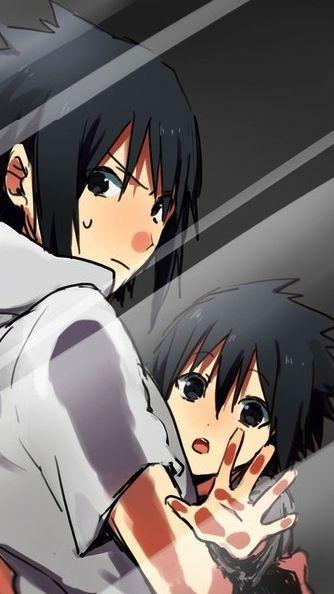 Screensaver young Sasuke and older Sasuke