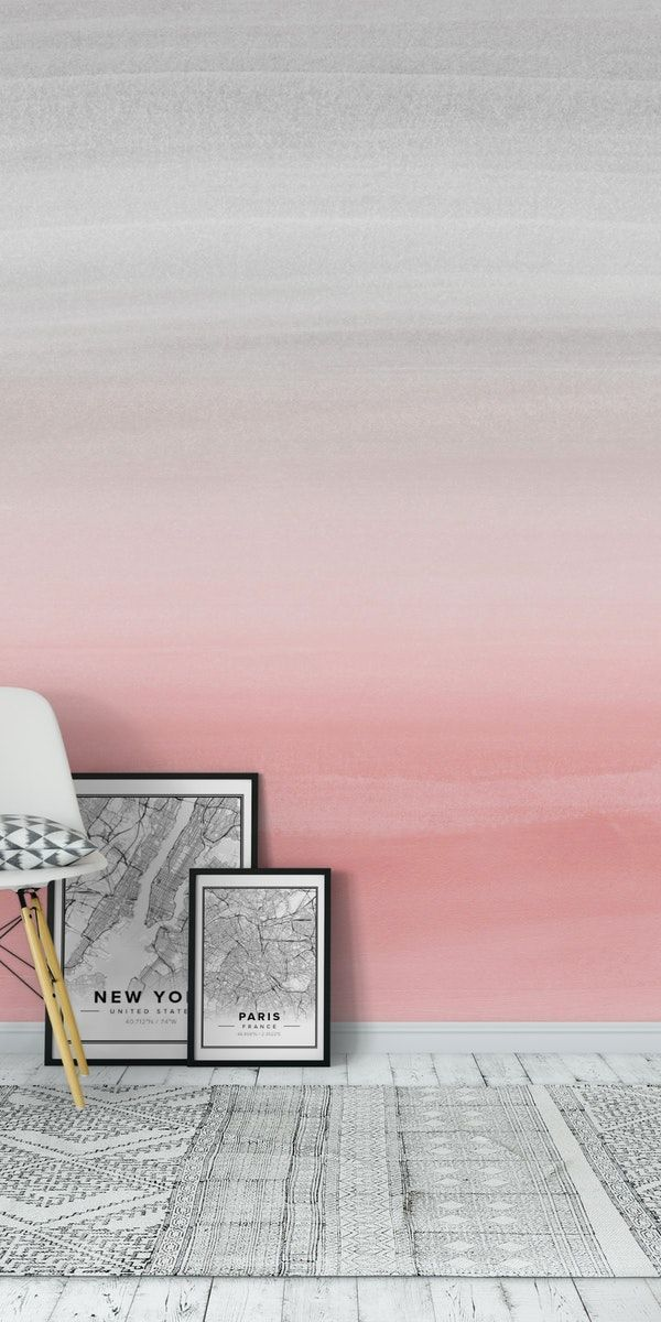 Blush Gray Watercolor 1 Wall Mural From Happywall Fadingcolors Blushing Watercolordream Trendy Sc Ombre Painted Walls Ombre Wall Wall Painting Living Room
