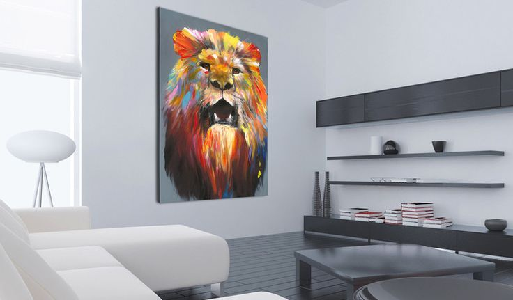Obraz malowany 60x90 Lew g-A-0101-b-a - artgeist - Obrazy akrylowe #art #design #lion