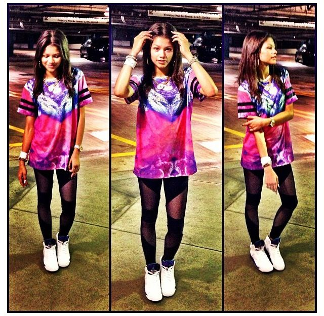 Look For Less: Zendaya Coleman in Topshop Escapology Cloud Color Tee, Black  Mesh Leggings and Nike Air Jordan Retro 5 Grape Sneakers