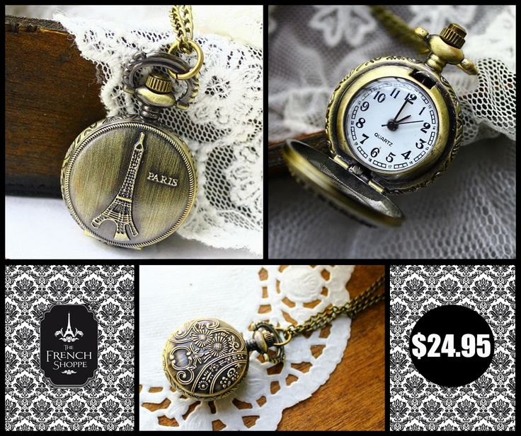 Eiffel Tower Bronze Antique Style Locket Pendant / Pocket Watch/ necklace http://www.thefrenchshoppe.com.au/french_assortments.html