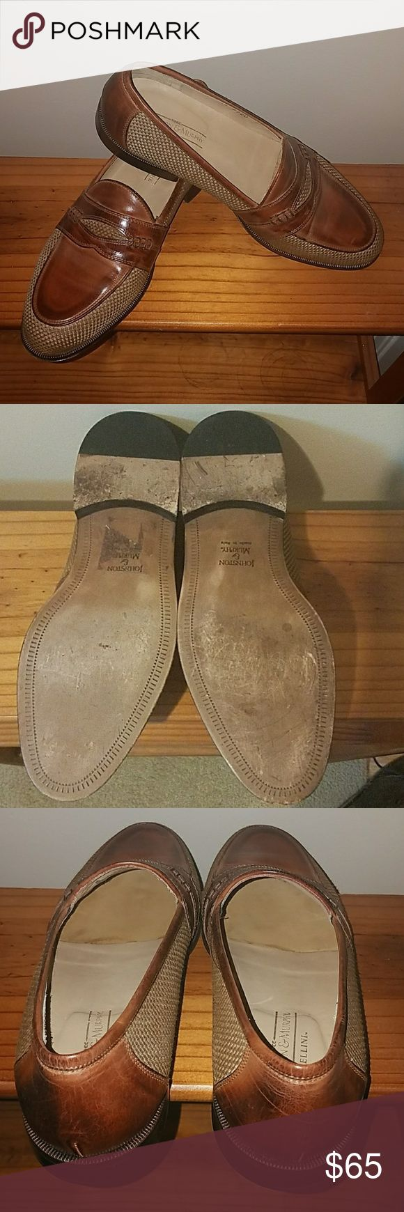 Johnson and Murphy loafer 9.5 Classy gently used ..brown leather and tanish/Brown tweed Johnston & Murphy Shoes Loafers & Slip-Ons