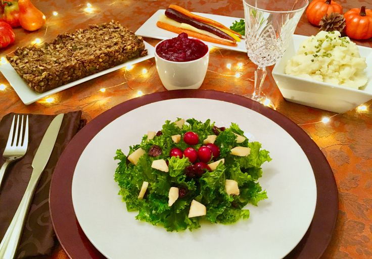 Happy Thanksgiving! This GF plant-based menu consists of: - Roasted Heirloom Carrots - Classic Mashed Potatoes - Kale & Apple Salad - Naturally-Sweetened Cranberry Sauce - Lentil-Nut Holiday Loaf  All the recipes are at thankfulvegan.com