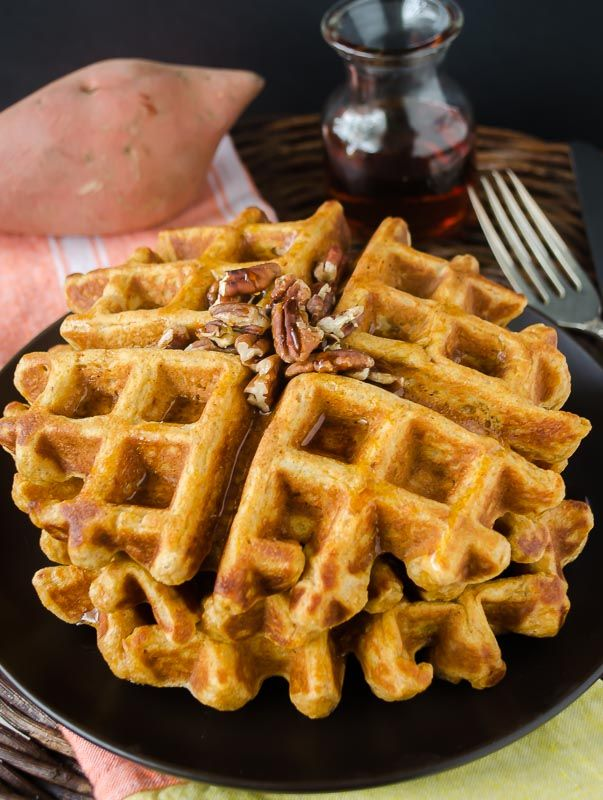 Whole Wheat Sweet Potato Waffles are delicious and nutritious, and so light and fluffy it's hard to believe they're healthy!