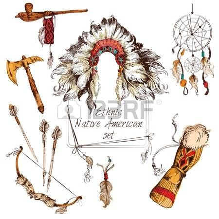 Ethnic native american indian tribal chief sketch colored decorative elements set isolated vector illustration