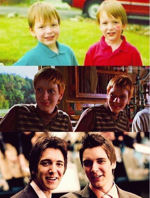 awww little james and oliver phelps (aka fred and george weasley)