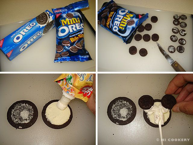 Mickey Mouse Oreo Cookie Pops | HI COOKERY. These should be dunked in chocolate afterwards, in my opinion.