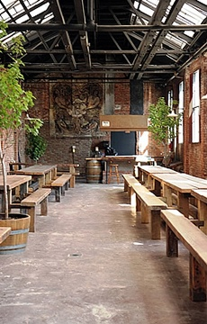 Great example of perfect communal seating at Radegast Hall and Biergarten - Williamsburg, Brooklyn