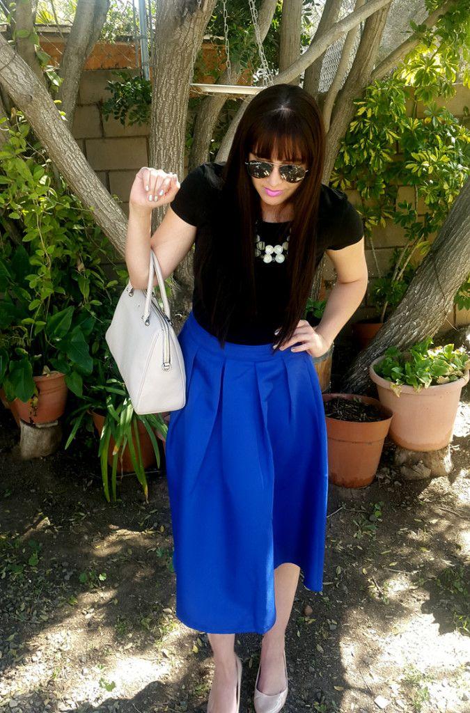 Cobalt Blue Full Midi Skirt