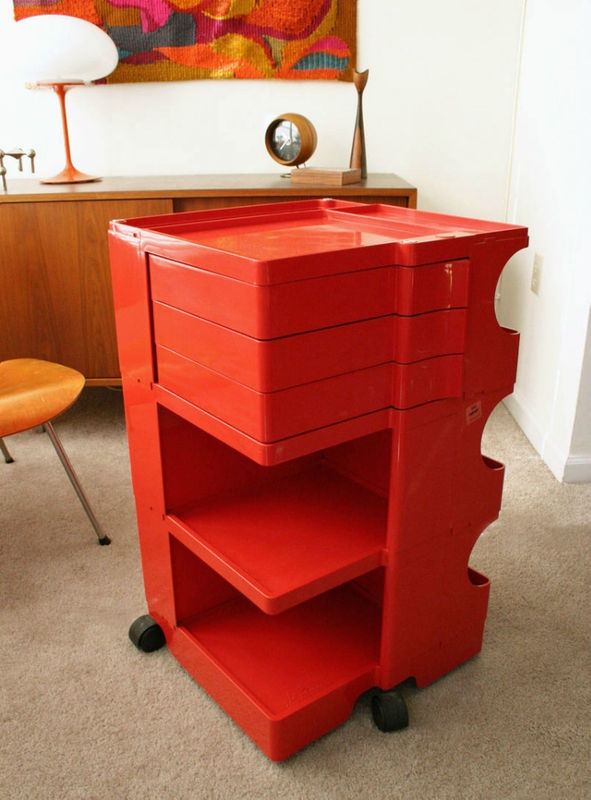 Vtg rare red joe colombo bobby cart trolley mod panton kartell for Colombo design spa