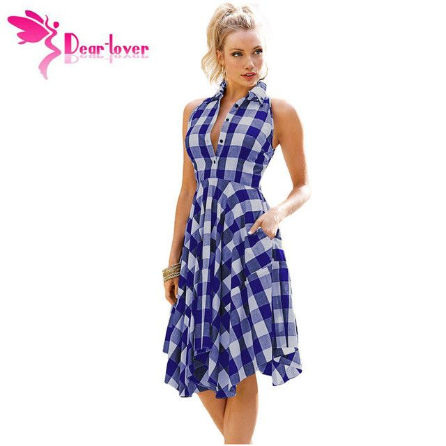 Dear-Lover Plaid Dresses Casual Summer Office Ladies Blue/Black White Gray Checks Flared Shirt Dress Robes